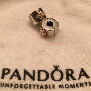 Pandora Golden Flower Clips